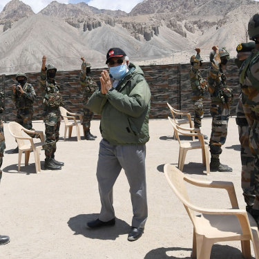 Indian Prime Minister Narendra Modi makes a surprise visit to a military base in remote Ladakh in July.