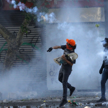 Tear gas in Santiago.