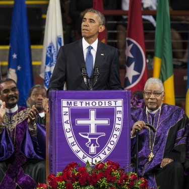In South Carolina in 2015, President Barack Obama sang Amazing Grace at the eulogy for Clementa Pinckney, who was murdered by a white supremacist.