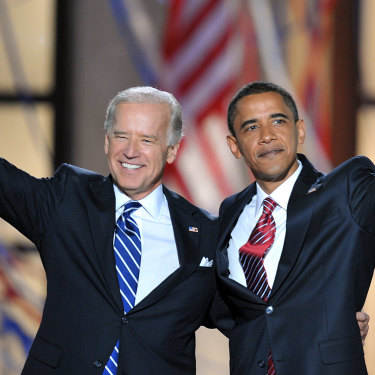 Joe Biden in 2008 with Barack Obama, whom he served as Vice-President.