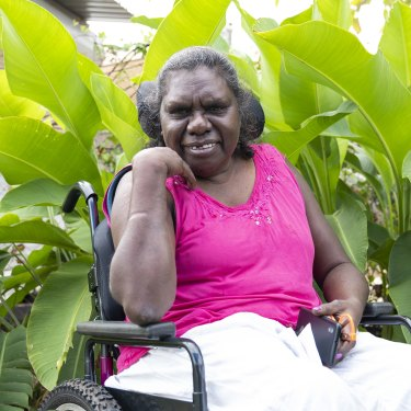 """Joyce Lalara from Angurugu on Groote Eylandt: """"Some people tell me about that COVID-19. 'Don't get the injection because you've already got MJD', they said to me. But I push myself. I have the injection. Both. And I didn't get sick."""""""