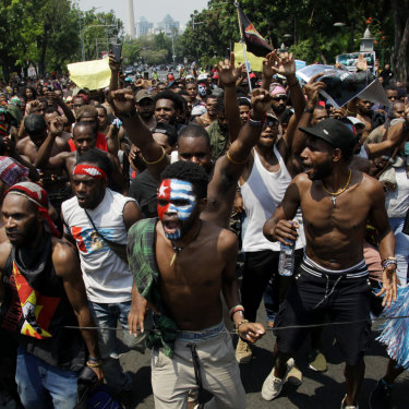 Papuan students protest in Jakarta on August 22.