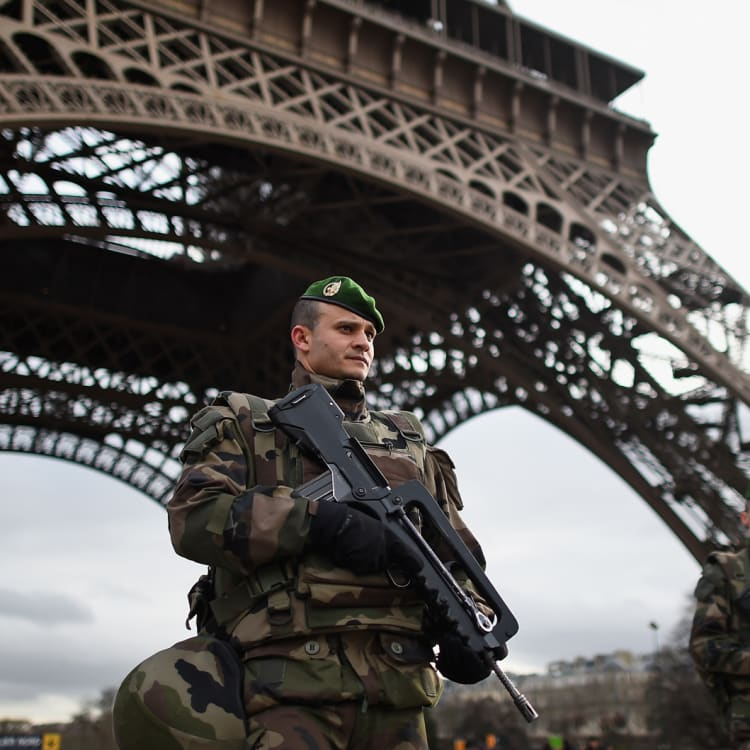 Armed troops, such as these around the Eiffel Tower, have become a familiar sight in Europe following a string of deadly terrorist attacks.