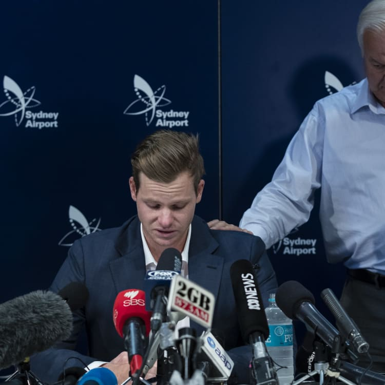 Smith's tearful press conference, with dad Peter, on his return to Australia.