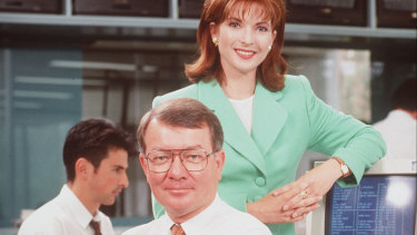 Juanita Phillips (right) and John Gatfield (centre) were among Sky's earliest hosts.