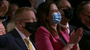 Queensland Premier Annastacia Palaszczuk, and John Coates (left), at the Toyko event that confirmed Brisbane as host of the 2032 Olympics.