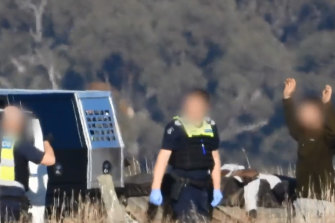 Police searching a duck hunter and questioning him over the alleged discovery of white powder in his car near Horsham on Saturday morning.