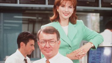 Juanita Phillips (right) and John Gatfield (centre) were among Sky's earliest hosts.