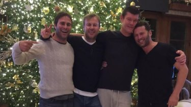 Champion Argentinian polo player Gonzalo Pieres (left),  Ben Tilley, James Packer and Karl Stefanovic in Aspen during the period of the billionaire's romance with Mariah Carey.