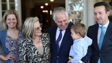 Then-Prime Minister Malcolm Turnbull with his grandson Jack, wife Lucy, daughter Daisy and son-in-law James Brown in 2015.