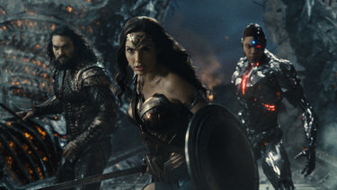 Aquaman (Jason Momoa), Wonder Woman (Gal Gadot) and Cyborg (Ray Fisher) in a scene from Zack Snyder's Justice League.