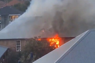 The fire erupted on the second floor of a school building.