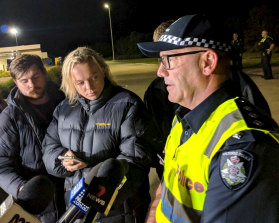 Acting Inspector Peter Fusinato speaks to the media after a Sydney-Melbourne XPT train derailed at Wallan, north of Melbourne, on Thursday.