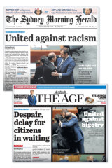 The front covers of The Sydney Morning Herald and The Age on Thursday.