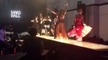 A still from the video showing guests dancing on night of the Powerhouse Museum's Fashion Ball.