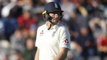 Crucial: England's Jos Buttler after being given out lbw following his important innings in the fourth Test.