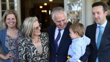 Prime Minister Malcolm Turnbull with his grandson Jack, wife Lucy, daughter Daisy and son-in-law James Brown.