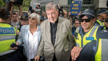 George Pell leaves the County Court last month, the day before he was taken into custody.