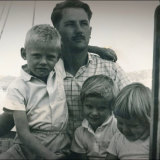 Bruce Fairlie, with son Charles and daughters Anthea and Kim.