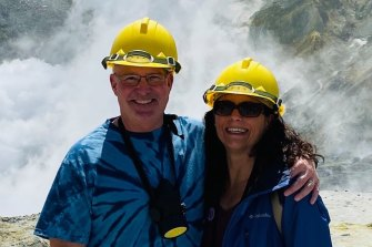 Ivy Kohn Reed and Rick Reed photographed on Whakaari/White Island about 15 minutes before the volcano erupted.