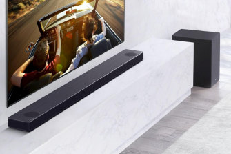 Long though it may be the soundbar is quite flat, so it should sit under your TV without obscuring it.