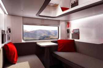 An artist impression of the interior of the new generation OBB Nightjet sleeper trains.