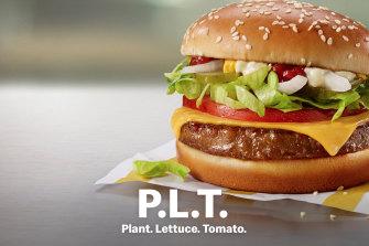 McDonald's PLT - or plant, lettuce and tomato - burger.