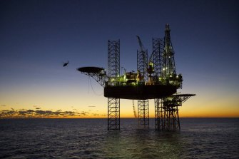 A Santos oil and gas rig in the Carnarvon Basin, Western Australia.