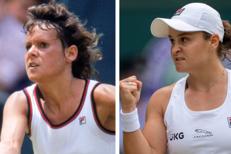 Barty (right) is looking to emulate Evonne Goolagong Cawley's Wimbledon heroics.