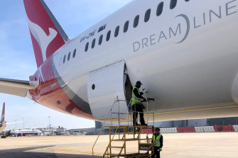 Protective equipment for medical staff, including masks and gloves, has been flown from Europe to Australia on a special Qantas fight from London.