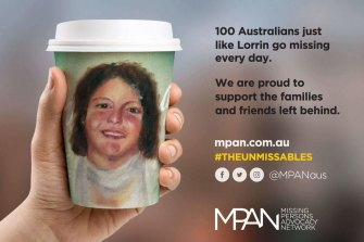 The Missing Persons Advocacy Network recently put Lorrin Whitehead's likeness on a coffee cup as part of a campaign to raise awareness.
