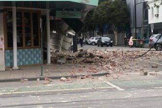 Damage on a Chapel Street building in Melbourne.