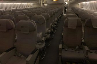 An Emirates flight to Perth, Australia in May 2021 showing empty seats as a result of flight caps.