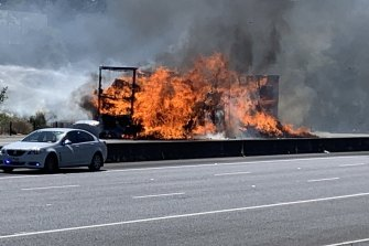 The truck fire on the Eastern Freeway.