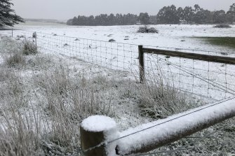 Snow in Lismore, west of Melbourne, during Friday's cold snap.