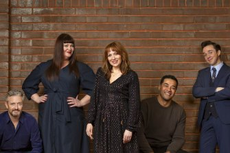 The cast of new Melbourne comedy Spreadsheet (from left)Stephen Curry, Katrina Milosevic, Katherine Parkinson, Robbie Magasiva and Rowan Witt.