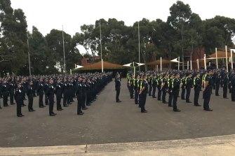 Police and Protective Services Officer recruits, instructors and staff at the Victoria Police Academy held a minute's silence last week.