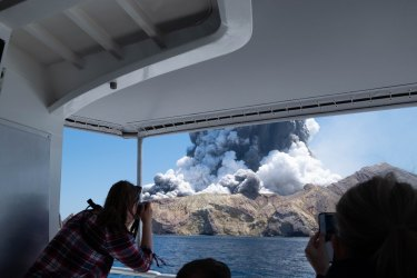 Michael Schade took this photo as the eruption threw an ash plume about 3600 metres high.