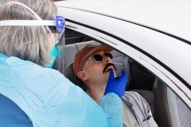 The drive-in testing clinic at Bondi earlier this month.
