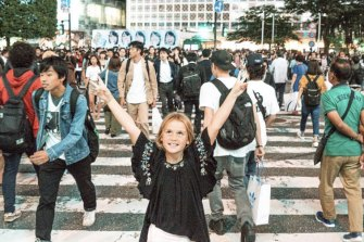 Emmie at the Shibuya crossing in Tokyo.