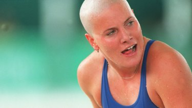 Casey Legler with her head shaven, representing France  at the Atlanta Olympics.