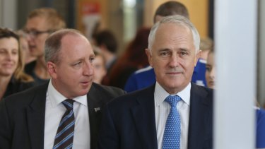 LNP MP Luke Howarth (left) has called on Prime Minister Malcolm Turnbull to drop the government's policy of company tax cuts.