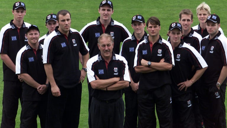 Malcolm Blight and St Kilda's new players and coaches in 2001.