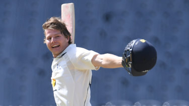 Victoria's Will Pucovski celebrates his maiden first-class century against Queensland in February.
