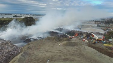 The huge fire at the SKM recycling plant in 2017. Photo supplied by MFB.