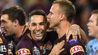 Billy Slater congratulates Daly Cherry-Evans on his match-turning try.