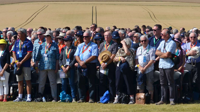 The crowd gathered to commemorate the battle of Hamel this week in France.
