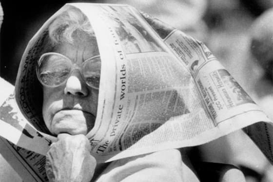 Edith Dowling, little down inventor of The Canberra Times hat, used the paper to shield herself from the sun on a hot Australia Day in 1989.