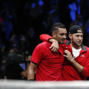 Nick Kyrgios and Jack Sock during last year's Laver Cup.