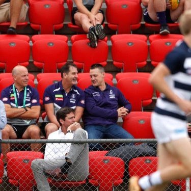 Gillon McLachlan  (front and centre, in the white shirt) at an AFLX match, a 2017 innovation to the code.